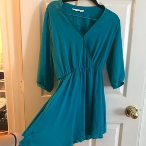 Teal wrap front dress